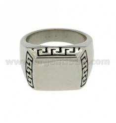 15X12 MM RECTANGULAR STEEL RING WITH GREEK SIDE SIZE 22
