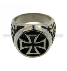 RING STEEL ROUND 18 MM WITH MALTESE CROSS ENAMELED SIZE 22