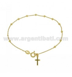 CABLE BRACELET ROSARY WITH SMOOTH BALL 1.8 MM 45 CM SILVER GOLD PLATED TIT 925 ‰