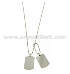 DOUBLE MILITARY MEDAL IN STEEL MM 30X20 WITH BALL CHAIN MM 2 CM 60