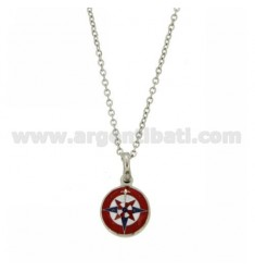 PENDANT ROSE OF THE WIND ENAMELED STEEL WITH CABLE CHAIN CM 50