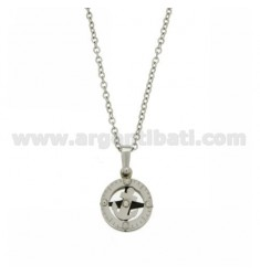 STAINLESS STEEL PENDANT WITH RUTHENIUM PLATED INSERTS WITH CABLE CHAIN CM 50