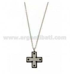 CROSS PENDANT IN STEEL WITH RUTHENIUM AND GLITTER PLATED INSERTS WITH CABLE CHAIN CM 50