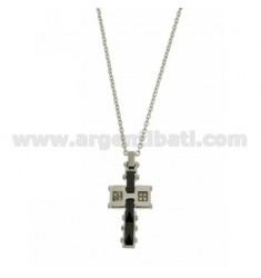 CROSS PENDANT IN STEEL WITH BLACK CERAMIC INSERTS AND ZIRCONS WITH CABLE CHAIN CM 50
