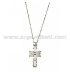 CROSS PENDANT IN STEEL WITH WHITE CERAMIC INSERTS AND ZIRCONS WITH CABLE CHAIN CM 50