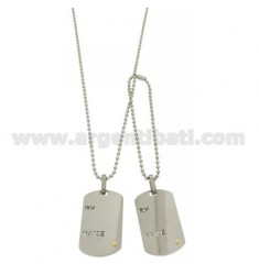 MILITARY MEDAL DOUBLE RH STEEL 40x23 MM WITH INSERT Bilamina BRASS WITH GOLD CHAIN &8203&8203WITH A BALL 2.5 MM 60 CM