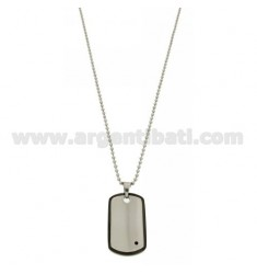 MILITARY MEDAL MM 37X22 STEEL WITH BOTTOM AND BORDER RUTENIO PLATED ZIRCON AND BLACK WITH A BALL CHAIN &8203&82032.5 MM 50 C
