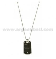 MEDALLA MILITAR CON INTERIOR DE ACERO 40x22 MM rutenio oro cadena CON BOLAS 50 MM 2,5 CM