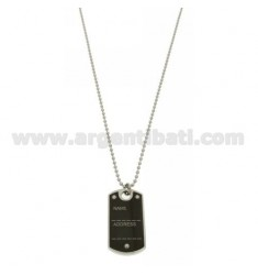 MILITARY MEDAL IN STEEL MM 40X22 WITH RUTHENIUM PLATED INTERIOR WITH BALL CHAIN MM 2,5 CM 50