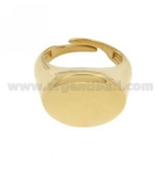LITTLE FINGER RING ADJUSTABLE HORIZONTAL OVAL GOLD PLATED 925