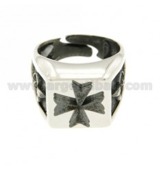 14X14 MM SQUARE RING WITH MALTESE CROSS RELIEF BRUNITA IN AG TIT RODIATO 925 ‰ ADJUSTABLE MEASURE 17