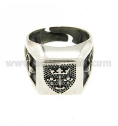 14X14 MM SQUARE RING WITH SHIELD IN A SIGNIFICANT BRUNITO AG TIT 925 RHODIUM SIZE ADJUSTABLE FROM 17