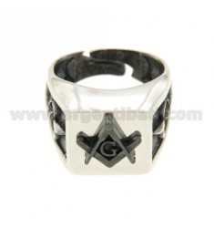 14X14 MM SQUARE RING WITH SIGNIFICANT SYMBOL GA BRUNITO AG IN RHODIUM 925 TIT SIZE ADJUSTABLE FROM 17