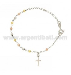 ROSARY BEAD BRACELET WITH SMOOTH TO 18 CM 3 MM 925 TIT SILVER RHODIUM PLATED, YELLOW GOLD AND PINK