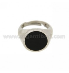 PINKY RING WITH ONYX ROUND 13 MM IN AG TIT RODIATO 925 ‰ ADJUSTABLE 5