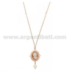 CABLE CHAIN CM 50 WITH CAMEO MM 17 WITH DURING AND PEARL IN AG ROSE GOLD PLATED TIT 925