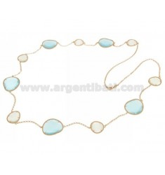 CHANEL STONE SILVER PLATED ROSE GOLD 925 TITLE WITH STONES HYDROTHERMAL LIGHT GREY AND BLUE PEARL PEARL 15P 2P CM 90
