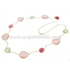 CHANEL STONE SILVER PLATED ROSE GOLD 925 TITLE WITH STONES HYDROTHERMAL PASTEL GREEN AND PINK PEARL PEARL 4P 11P CM 90