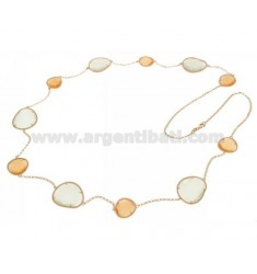 CHANEL STONE ROSE GOLD PLATED SILVER TITLE 925 HYDROTHERMAL ORANGE WITH STONES AND LIGHT GREY PEARL PEARL 6P 15P CM 90
