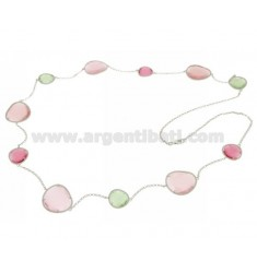 CHANEL STONE IN SILVER RHODIUM 925 TITLE WITH STONES HYDROTHERMAL PASTEL GREEN AND PINK PEARL PEARL 4P 11P CM 90