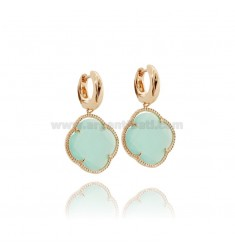 BEAD EARRINGS IN ROSE GOLD PLATED AG 925 TITLE AND FLOWER pedente HYDROTHERMAL BIG STONE COLOR GREEN TIFFANY ROSE GOLD PLATED 20
