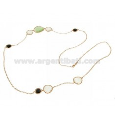 CHANEL IN ROSE GOLD PLATED AG TIT925 HYDROTHERMAL AND STONES WITH TONE WHITE AND GREEN 4P.8P.58P 90 CM