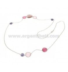 CHANEL IN RHODIUM AG TIT925 HYDROTHERMAL AND STONES WITH TONES OF PINK AND PURPLE 13P.11P.16P 90 CM