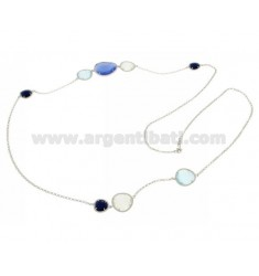 CHANEL IN RHODIUM AG TIT925 HYDROTHERMAL AND STONES WITH TONES OF BLUE AND WHITE 2P.8P.60P.60 CM 90
