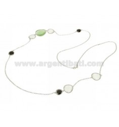 CHANEL IN RHODIUM AG TIT925 HYDROTHERMAL AND STONES WITH TONE WHITE AND GREEN 4P.8P.58P 90 CM