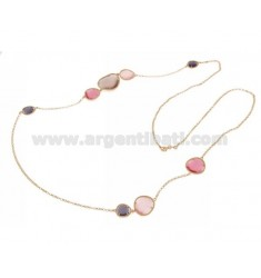 CHANEL IN ROSE GOLD PLATED AG TIT925 HYDROTHERMAL AND STONES WITH TONES OF PINK AND PURPLE 13P.11P.16P 90 CM