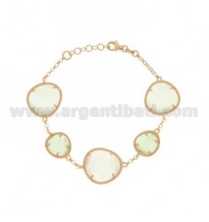 ROLO BRACELET &395 SASSI LIGHT GREY AND GREEN PASTEL PEARL PEARL 15P 4P IN ROSE GOLD PLATED AG TIT 925