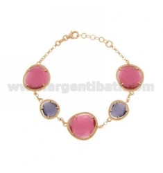 ROLO BRACELET &395 STONES PINK PINK AND PURPLE PEARL PEARL 16P 13P IN ROSE GOLD PLATED AG TIT 925