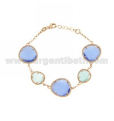 ROLO BRACELET &395 ROCKS SUGAR PAPER AND BLUE PEARL PEARL 28P 2P IN ROSE GOLD PLATED AG TIT 925