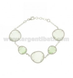 ROLO BRACELET &395 SASSI LIGHT GREY AND GREEN PASTEL PEARL PEARL 15P 4P IN RHODIUM AG TIT 925 ‰