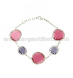 ROLO BRACELET &395 STONES PINK PINK AND PURPLE PEARL PEARL 16P 13P IN RHODIUM AG TIT 925