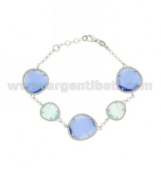 ROLO BRACELET &395 ROCKS SUGAR PAPER AND BLUE PEARL PEARL 28P 2P IN RHODIUM AG TIT 925
