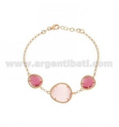 3 STONES BRACELET WITH STONES HYDROTHERMAL AND PINK PEARL PINK PEARL 16P 11P IN ROSE GOLD PLATED AG TIT 925