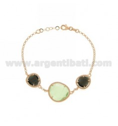 3 STONES BRACELET WITH STONES HYDROTHERMAL 58P BLACK PEARL AND PASTEL GREEN PEARL GOLD PLATED AG 4P IN PINK TIT 925