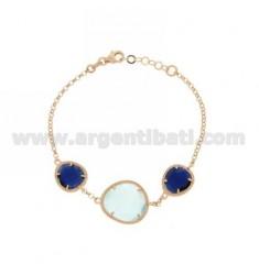 3 PIEDRAS Pulsera con las piedras hidrotermales y BLUE PEARL BLUE PEARL 60P 2P EN ROSE GOLD PLATED AG TIT 925