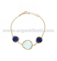 3 STONES BRACELET WITH STONES HYDROTHERMAL AND BLUE PEARL BLUE PEARL 60P 2P IN ROSE GOLD PLATED AG TIT 925
