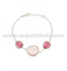 3 STONES BRACELET WITH STONES HYDROTHERMAL AND PINK PEARL PINK PEARL 16P 11P IN RHODIUM AG TIT 925