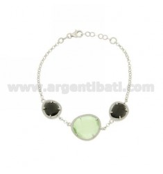 3 STONES BRACELET WITH STONES HYDROTHERMAL 58P BLACK PEARL AND GREEN PASTEL PEARL IN AG 4P RHODIUM TIT 925