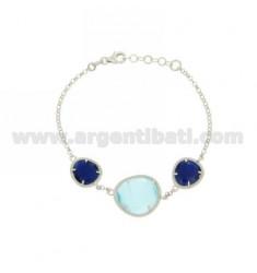3 PIEDRAS Pulsera con las piedras hidrotermales y BLUE PEARL BLUE PEARL 60P 2P EN RODIO AG TIT 925