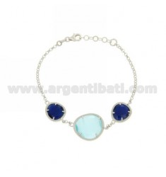 3 STONES BRACELET WITH STONES HYDROTHERMAL AND BLUE PEARL BLUE PEARL 60P 2P IN RHODIUM AG TIT 925