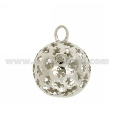 PENDANT 23 MM WITH ANGELS TALK CHILDREN IN PERFORATED AG RHODIUM TIT 925