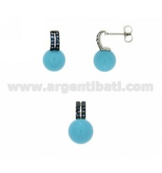 EARRINGS AND PENDANT WITH BALL IN PULP AND ZIRCONIA 11 MM TURQUOISE BLUE TIT AG RHODIUM 925