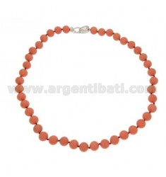 PINK CORAL PASTE NECKLACE MM10 WITH CLOSURE IN RHODIUM AG TIT 925 WITH ZIRCON PAVES CM 50