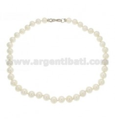 PEARL NECKLACE MM 10 WITH INFINITY CLOSURE IN AG RHODIUM TIT 925 WITH ZIRCONIA PAVE CM 49