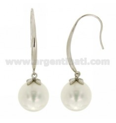 PEARL EARRINGS 14 MM IN RHODIUM AG TIT 925
