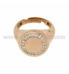 RING ROUND 16 MM SILVER ROSE GOLD PLATED 925 ‰ AND ZIRCONIA WHITE SIZE ADJUSTABLE FROM 17